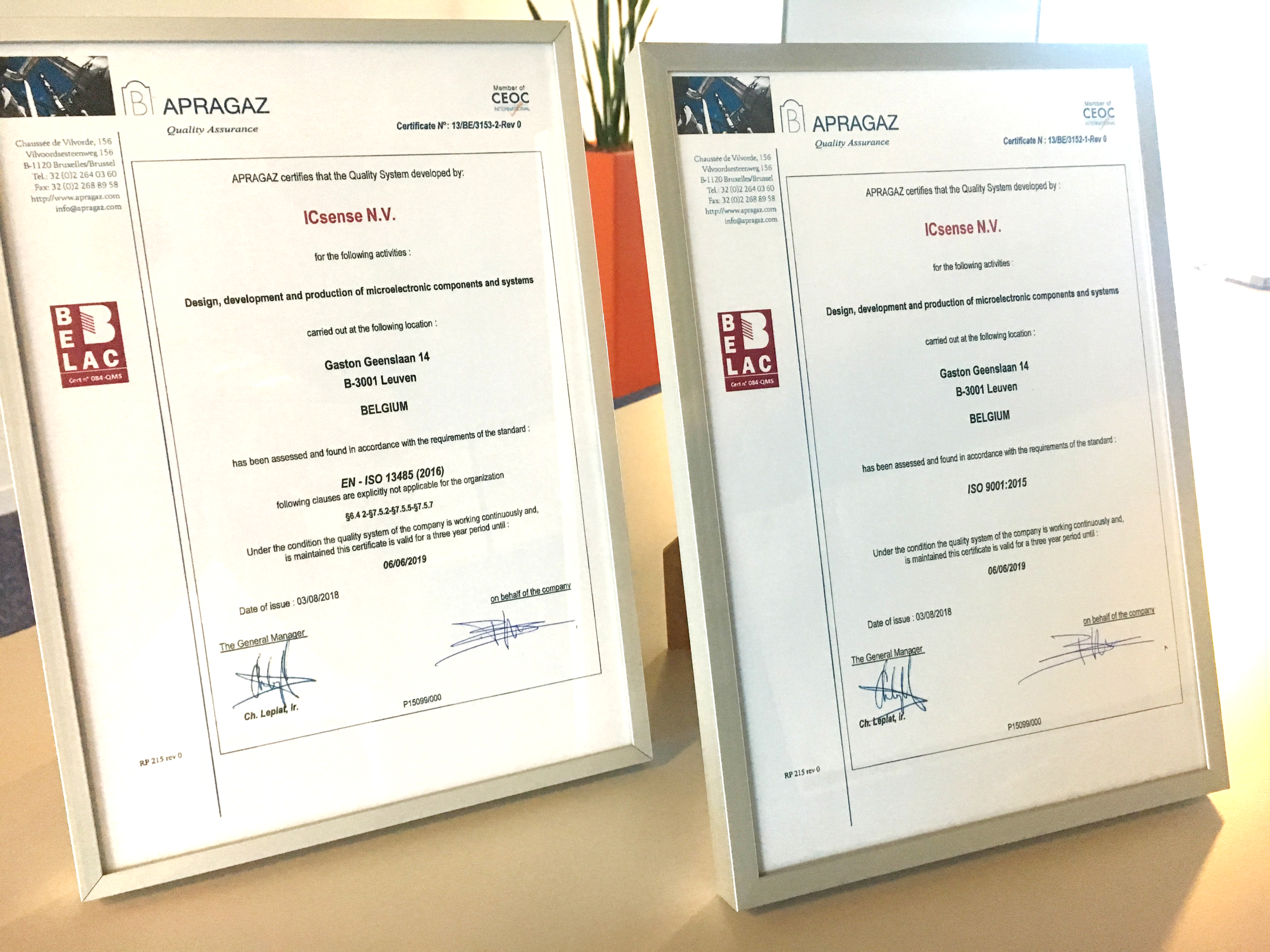 Successful renewal of ISO13485 and ISO9001